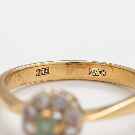 Sormus, 18k kultaa, berylli, timantteja n. 0.32 ct yht. jekaterinburg, neuvostoliitto 1972.
