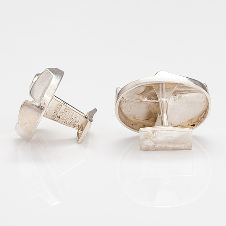 "BjÖrn weckstrÖm, a pair of sterling silver cufflinks ""seen on mars"". lapponia 1971."