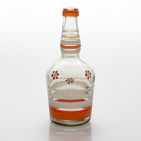 A set of 6 snapsglasses and a bottle designed by aino aalto for karhula in the 1930-1940's.