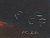 Peter dahl, färglitografi, signerad.