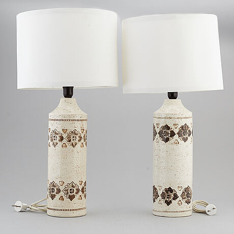 A pair of bitossi stoneware table lights, italy.