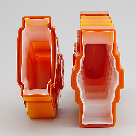 Po strÖm, two glass vases, alsterfors, signed and dated 1970.