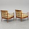 A pair of easy chairs 'skrindan' by kerstin hörlin-holmquist, ope.