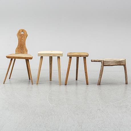 Pallar, 3 st, samt stol, allmoge, 1800/1900-tal.