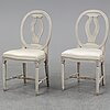 Eight gustavian style chairs, second half of the 20th century.