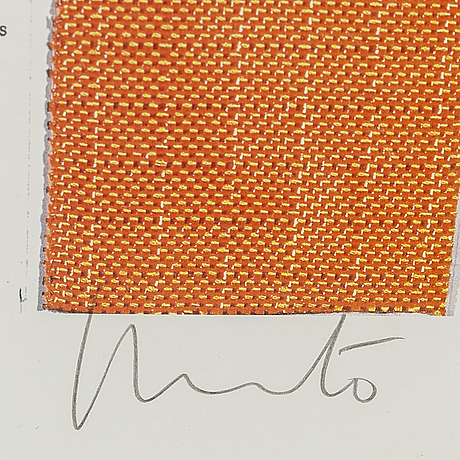 Christo & jeanne-claude, offset in colours with collage, signed christo in pencil.