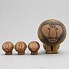 Lisa larson, four stoneware lion figurines, gustavsberg.
