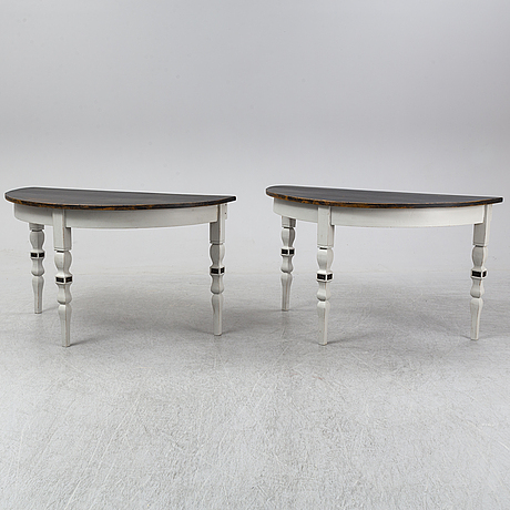 A pair of painted tables, late 19th century.