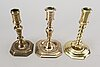 Three late baroque 18th century candlesticks.