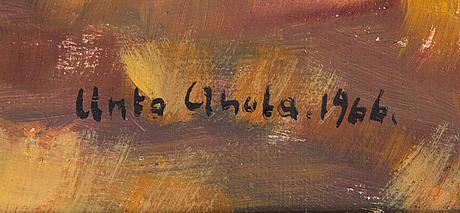 Unto ahola, öljy kankaalle, signeerattu ja päivätty 1966.