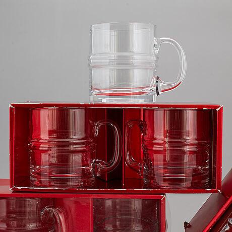 Timo sarpaneva, 24 parts glass tableware, pisaranrengas /drop ring / ripple, iittala, 1960/70s.