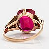 A 14k god ring with a synthetic ruby. westerback, helsinki 1952.