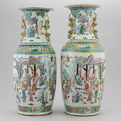 A pair of famille rose floor vases, 20th century.