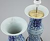 Two blue and white vases, one turned into table lamp, qing dynasty, 19th century.