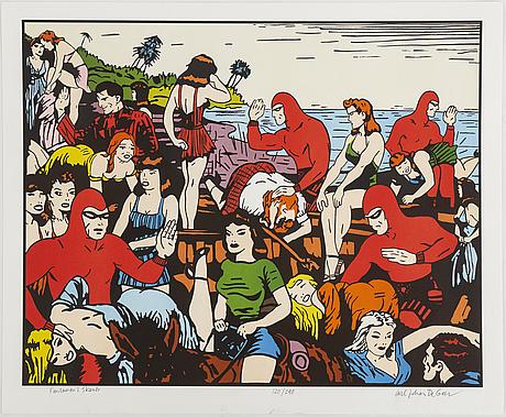Carl johan de geer, färglitografi, signerad 120/290.