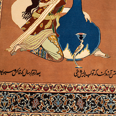 Matto, old esfahan, part silk, signed, ca 151,5 x 104,5 cm.