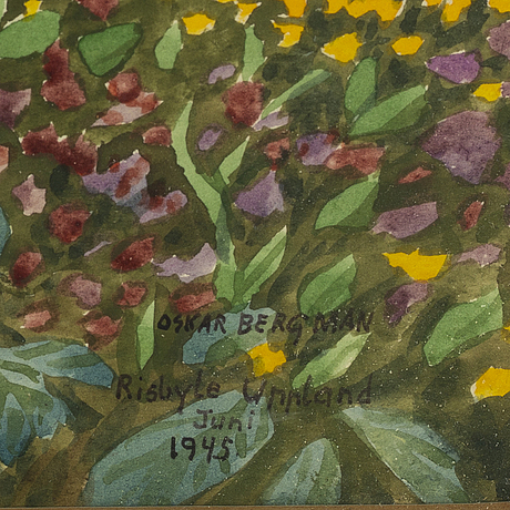 Oskar bergman, watercolour, signed oskar bergman and dated risbyle uppland juni 1945.