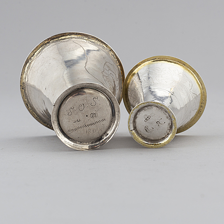Two parcel-gilt swedish silver beakers, second half of the 18th century.