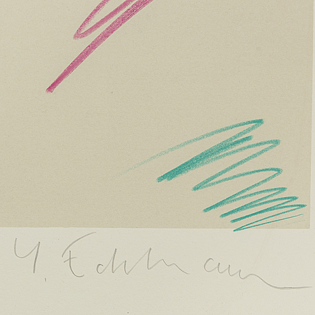 YrjÖ edelmann, lithograph in colours, signed 126/150.