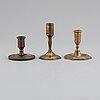 Ljusstakar, 3 st, barock, 1700-tal.