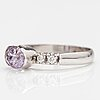A 14k white gold ring with a pink sapphire and diamonds ca. 0.10 ct in total. finland 2016.