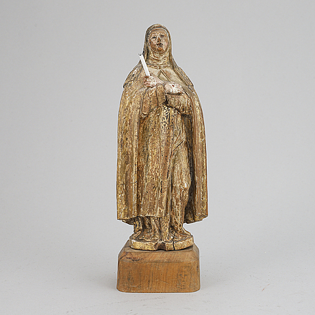 Sculpture, wood, 18th century presumably st bridget of sweden.