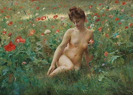 Julius le blanc stewart, poppy field with reclining nude.
