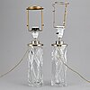 Olle alberius, a pair of glass table lights, orrefors.