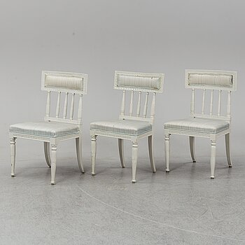 Three late Gustavian chairs, circa 1800.