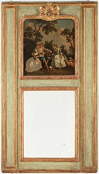 A wall panel with a painting and a mirror inlay, 18th century. Total measurements 177 x 102 cm.