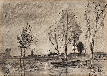 "339. Carl Fredrik Hill, ""Flodlandskap, Frankrike""."