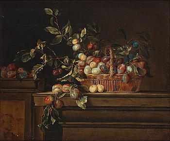 512. Pierre Dupuis Follower of, Still life with plums in a basket.