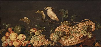 514. Monogramisten C. DH, Still life with fruits and a white parrot.