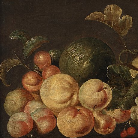 Monogramisten c. dh, still life with fruits and a white parrot.
