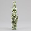 A carved green stone vase with cover, china, 20th century.
