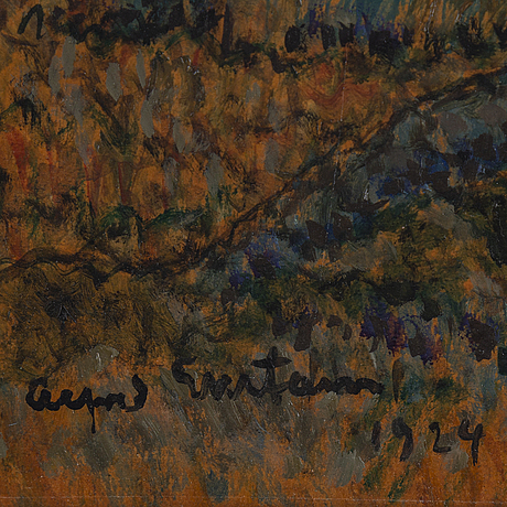 Alfred ekstam, oil on paper-panel, signed and dated 1924.