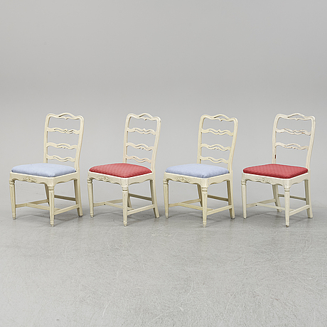 Four end of the 18th century gustavians chairs.