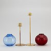 Hans-agne jakobsson, two glass and brass candle holders, for markaryd.