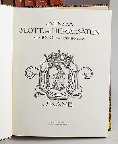 A set of 12 volumes of svenska slott & herresäten, nordisk familjeboks tryckeri, bl.a stockholm, early 20th century.