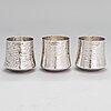 Tapio wirkkala, a set of three silver beakers, marked tw, kultakeskus, hämeenlinna, finland 1976.
