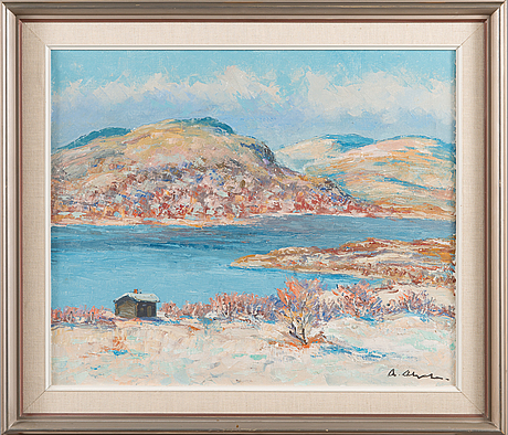 Arvo ahola, oil on canvas, signed.