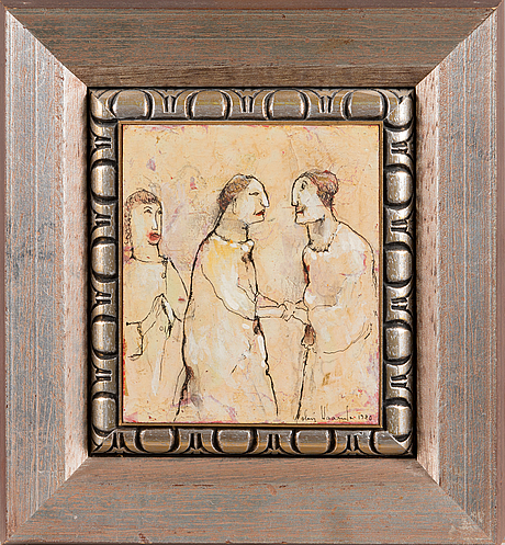 Olavi vaarula, mixed media on board, signed and dated 1980.