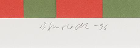 Juhana blomstedt, serigrafi, signerad och daterad-96. märkt 11/90.
