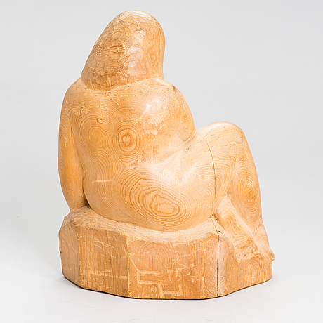 Gunnar uotila, sculpture, wood, signed and dated -75.