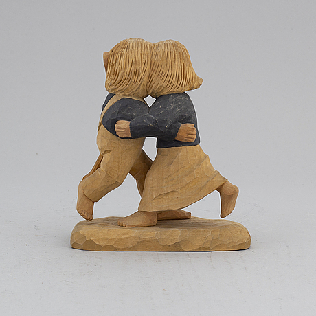 Herman rosell, sculpture, painted wodd, signed and dated 1959.