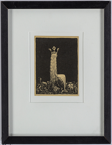 John bauer, lithograph signed in plate.