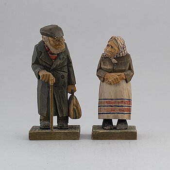 HERMAN ROSELL, sculptures, 2, painted wood, signed and dated 1930.