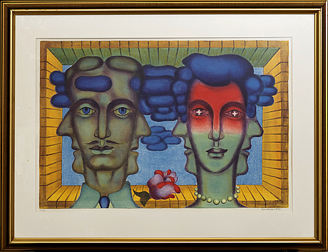 Erik olson, lithograph in color, numbered 13/310 and signed 1973.
