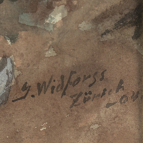 Gunnar widforss, watercolour, signed and dated zürich -04.