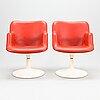 YrjÖ kukkapuro, a pair late 1960's '417p' armchairs for haimi.
